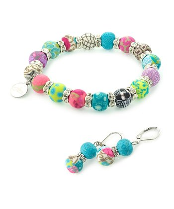 Blossom Crystal Bead Stretch Bracelet & Earrings