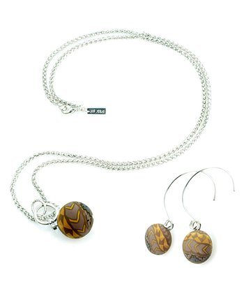 Brown Animal Bead Pendant Necklace & Earrings