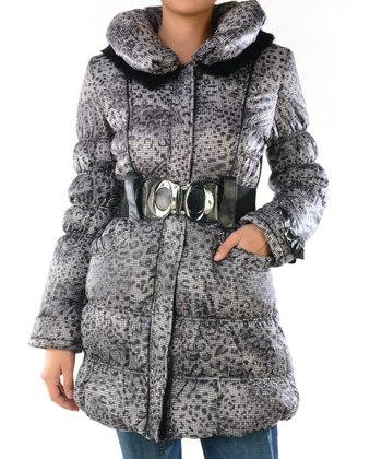 Black & White Belted Puffy Jacket