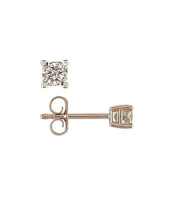 Diamond & Gold Princess-Cut Stud Earrings