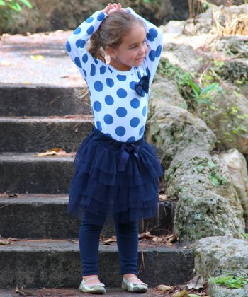 Navy Polka Dot Shirt & Skirted Tutu Leggings - Toddler & Girls