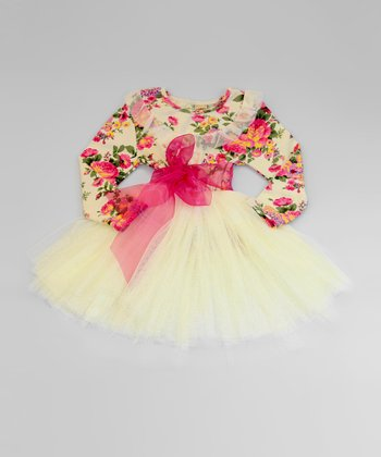 Pink & Crème Floral Tulle Dress - Toddler & Girls