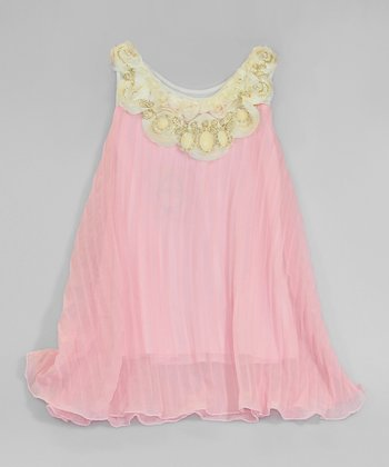 Pink & Crème Pleated Pearl Yoke Dress - Toddler & Girls