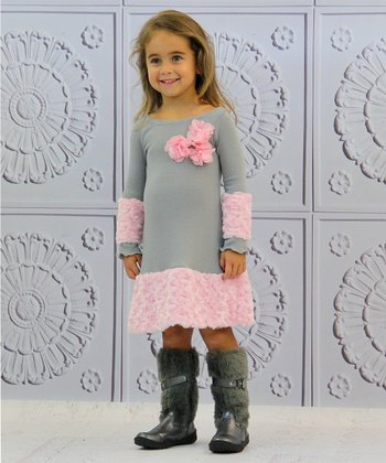 Gray & Pink Minky Rosette Dress - Toddler & Girls