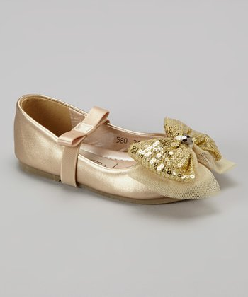 Gold Metallic Bow Flat