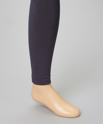 Gray Fleece-Lined Footless Tights - Infant, Toddler & Girls