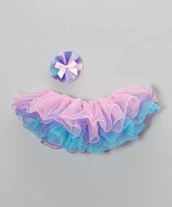 Pink & Purple Tutu & Clip - Infant, Toddler & Girls