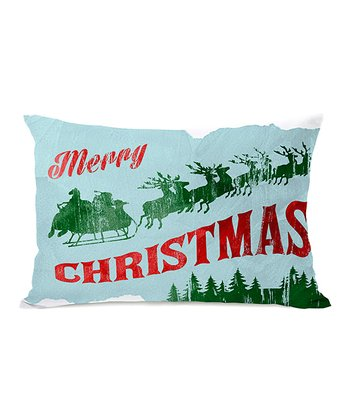 Blue Vintage Christmas Throw Pillow