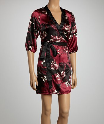 Plum Faux Wrap Dress