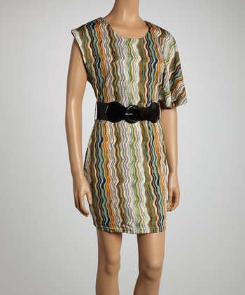 Rust Belted Zigzag Dress