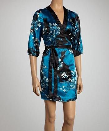 Black & Teal Faux Wrap Dress