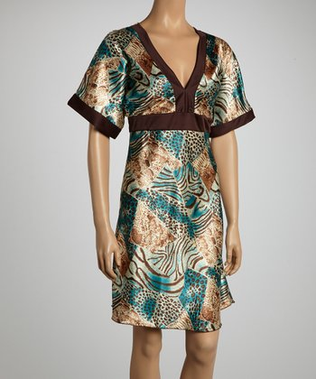 Blue & Brown Animal Dress