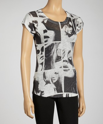 Black & White Face Graphic Top