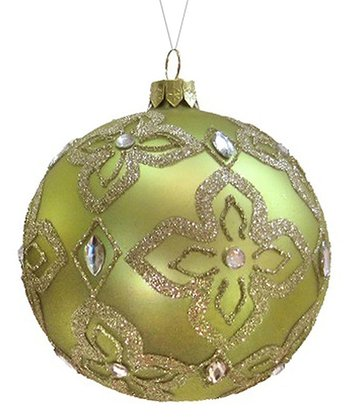 Sage Glitter Medallion Ball Ornament - Set of Two