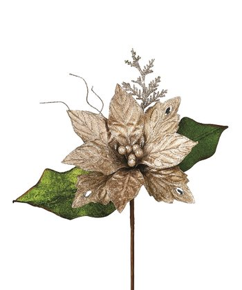 Taupe Jewel Velvet Poinsettia Pick