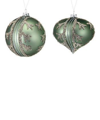 Forest Green Branch Ball Ornament Set