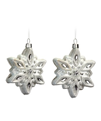White Shining Snowflake Ornament - Set of Two