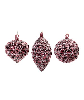 Burgundy Prism Ornament Set