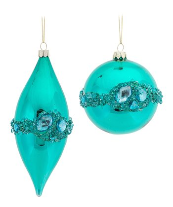 Aqua Jeweled Ornament Set