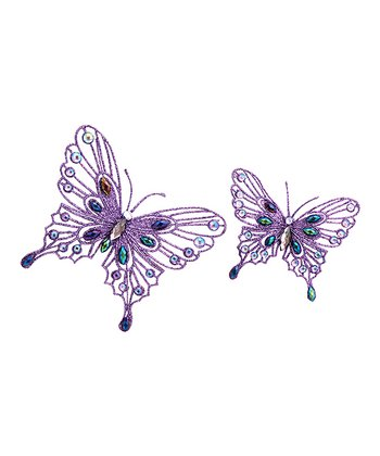 Purple Sparkling Butterfly Clip Set