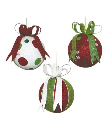 Red & Green Glitter Sphere Ornament Set
