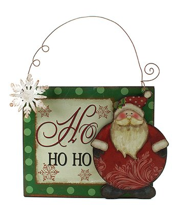 Green & White Polka Dot Santa 'Ho Ho Ho' Sign
