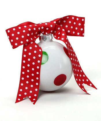 Red & Green Dot Ribbon Ornament