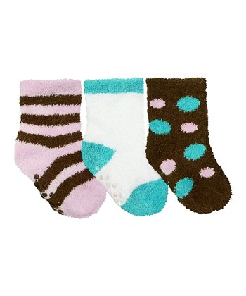 Mocha & Turquoise Polka Dot Gripper Sock Set