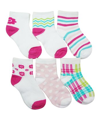 Hot Pink & Turquoise Zigzag Plaid Sock Set