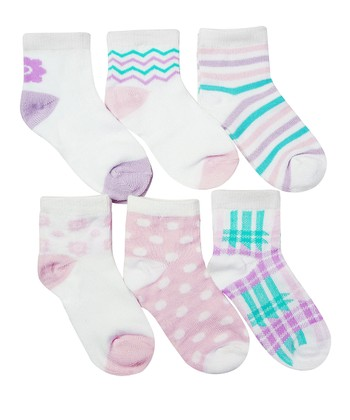 Purple & Aqua Zigzag Plaid Sock Set