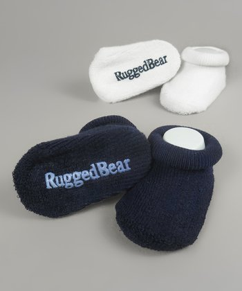 Navy & White Gripper Sock Set