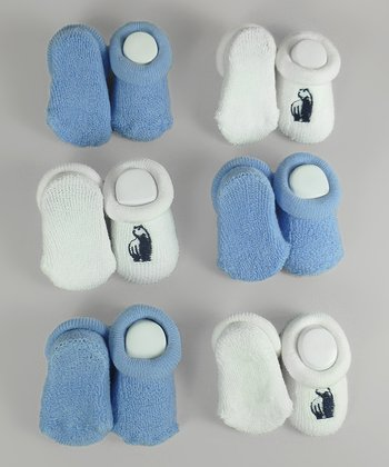 White & Blue Bear Sock Set