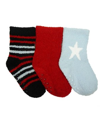 Red & Light Blue Star Gripper Socks Set