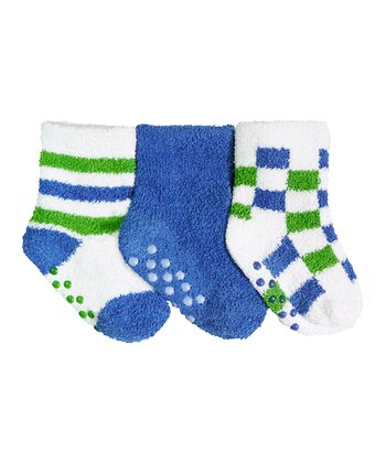 Blue & Green Checkerboard Gripper Socks Set
