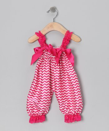 Hot Pink Zigzag Playsuit - Infant