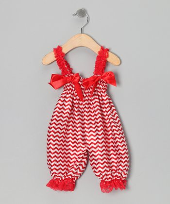 Red Zigzag Playsuit - Infant