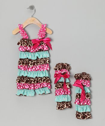 Pink Giraffe Ruffle Romper & Leg Warmers - Infant & Toddler
