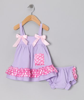Lavender Polka Dot Swing Top & Diaper Cover