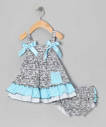 Turquoise Zebra Swing Top & Diaper Cover