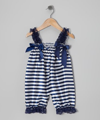 Blue Stripe Lace Ruffle Romper - Infant