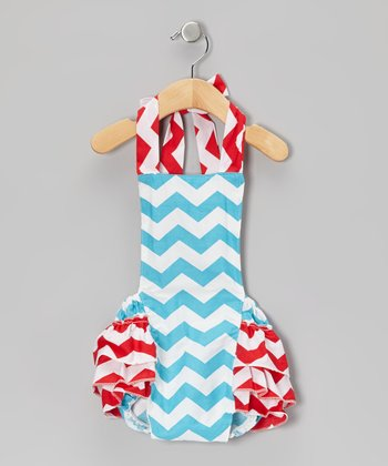 Red & Blue Zigzag Bubble Romper - Infant
