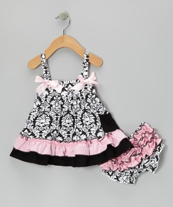 Pink & Black Damask Swing Top & Diaper Cover - Infant