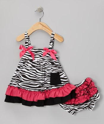 Pink Zebra Swing Top & Diaper Cover - Infant