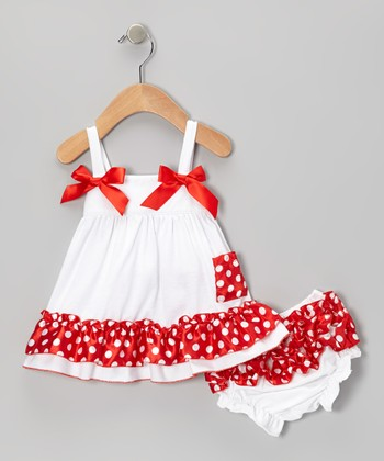 White & Red Polka Dot Swing Top & Diaper Cover
