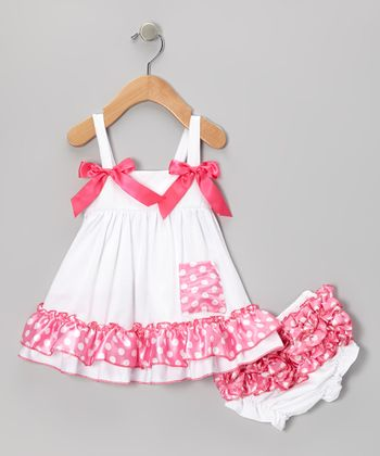 White & Pink Polka Dot Swing Top & Diaper Cover - Infant