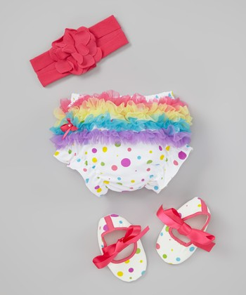White Rainbow Polka Dot Diaper Cover Set - Infant