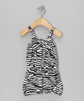 Black Zebra Bow Romper - Toddler