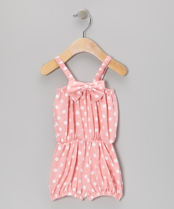 Peach Polka Dot Bow Romper