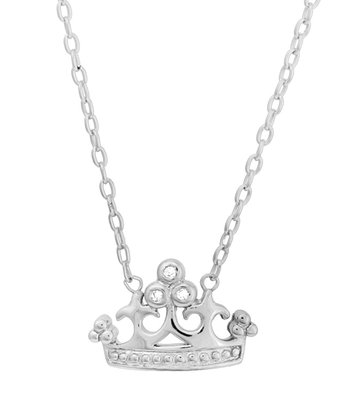 Silver & Cubic Zirconia Crown Pendant Necklace
