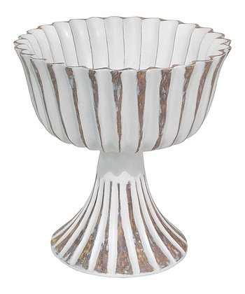 White Antiqued Decorative Fluted Bowl